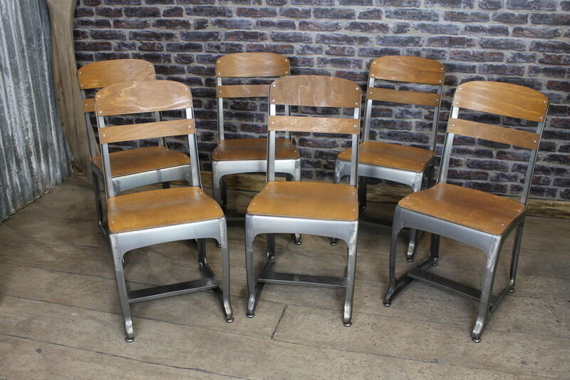 Set Of 6 Industrial Style Eton School Chairs Cafe Chairs Retro Inspired Seating