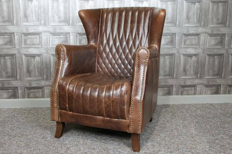 Large Vintage Style Brown Leather Armchair Library Chair The Grand