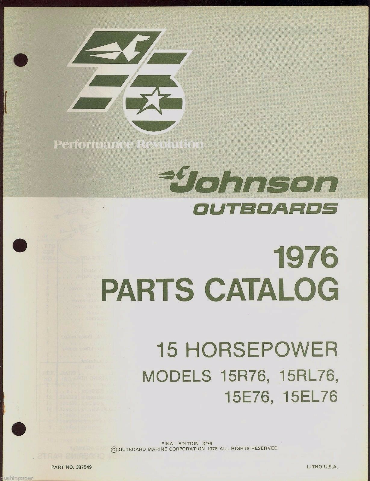 1976 Johnson 15Hp 15R76 15E76 15Rl76 15El76 Outboard Motor Parts Manual /  387549 1 of 2Only 1 available ...