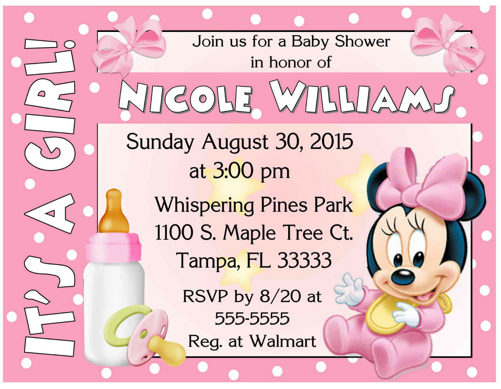 20 baby minnie mouse baby shower invitations printed with 20 baby minnie mouse baby shower invitations printed with envelopes 1 of 2free shipping filmwisefo