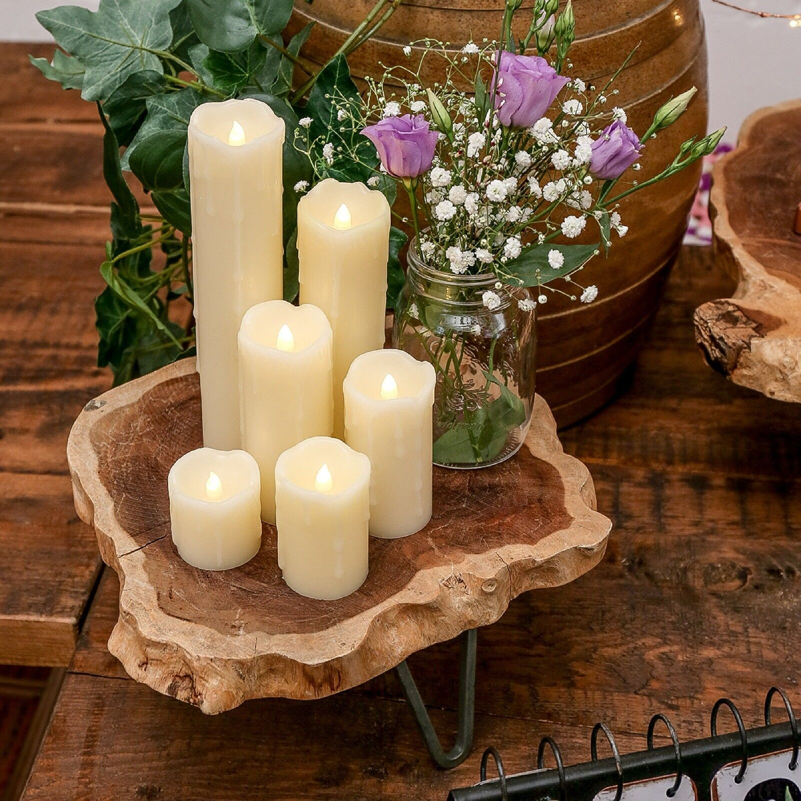 6 battery operated christmas pillar wedding dripping real wax led candle lights. Black Bedroom Furniture Sets. Home Design Ideas