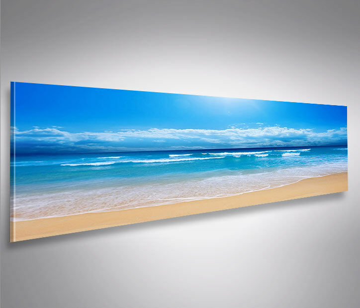 blaues meer panorama format modernes bild auf leinwand wandbild poster eur 39 90 picclick de. Black Bedroom Furniture Sets. Home Design Ideas