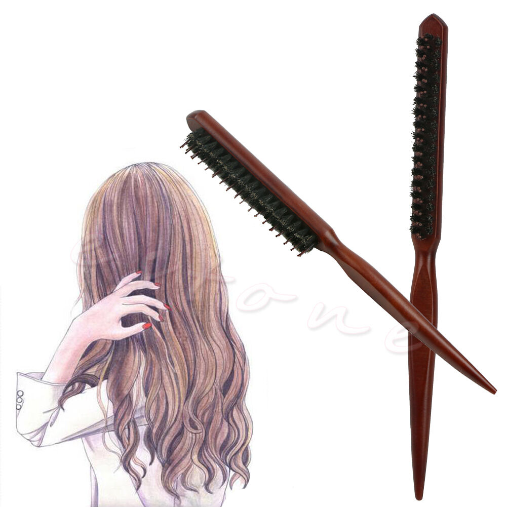 Fad salon comb hair teasing brush wooden handle back comb for Salon hair brushes