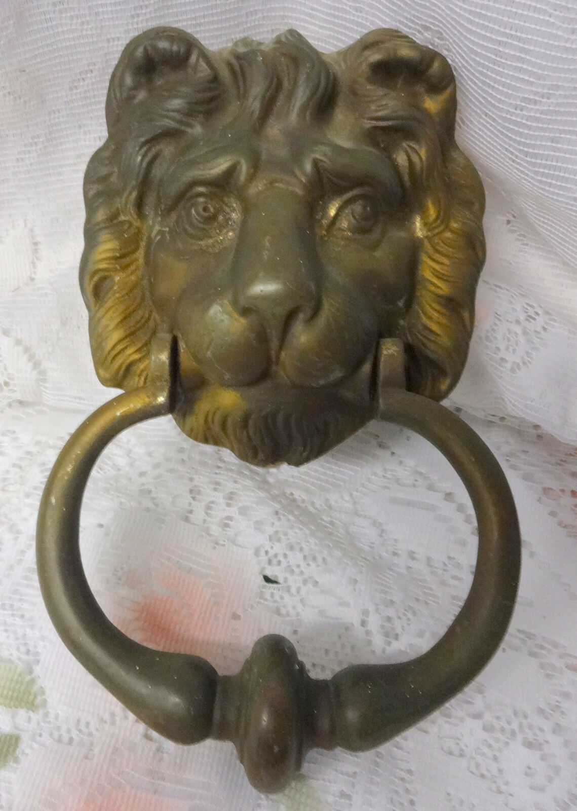 Antique Victorian Lion Head Lionhead Door Knocker Knobs Handles Bronze Brass