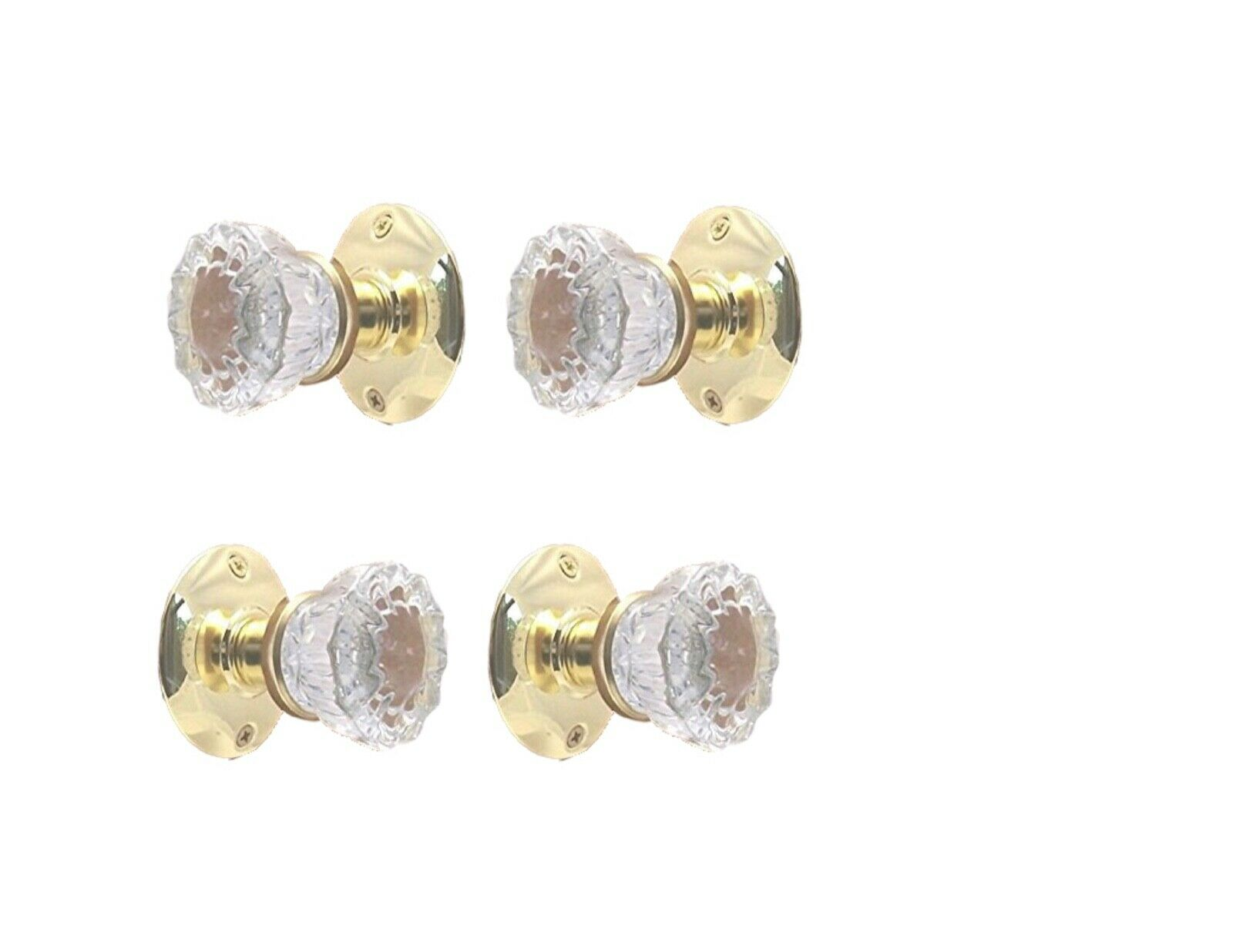 Two Complete PB FRENCH DOOR Knob Set- KNOBS On Both Sides of Two FRENCH DOORS