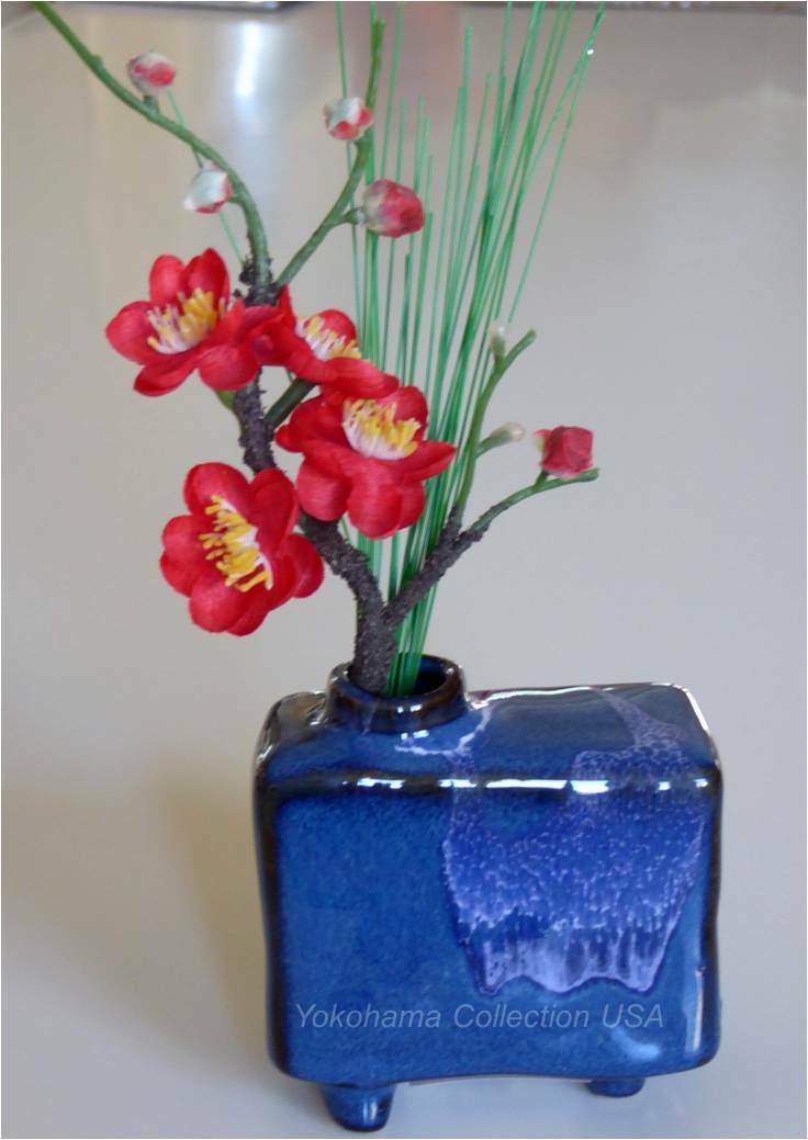 Japanese Mini Rectangle Blue Cumulus Colored Ikebana Flower
