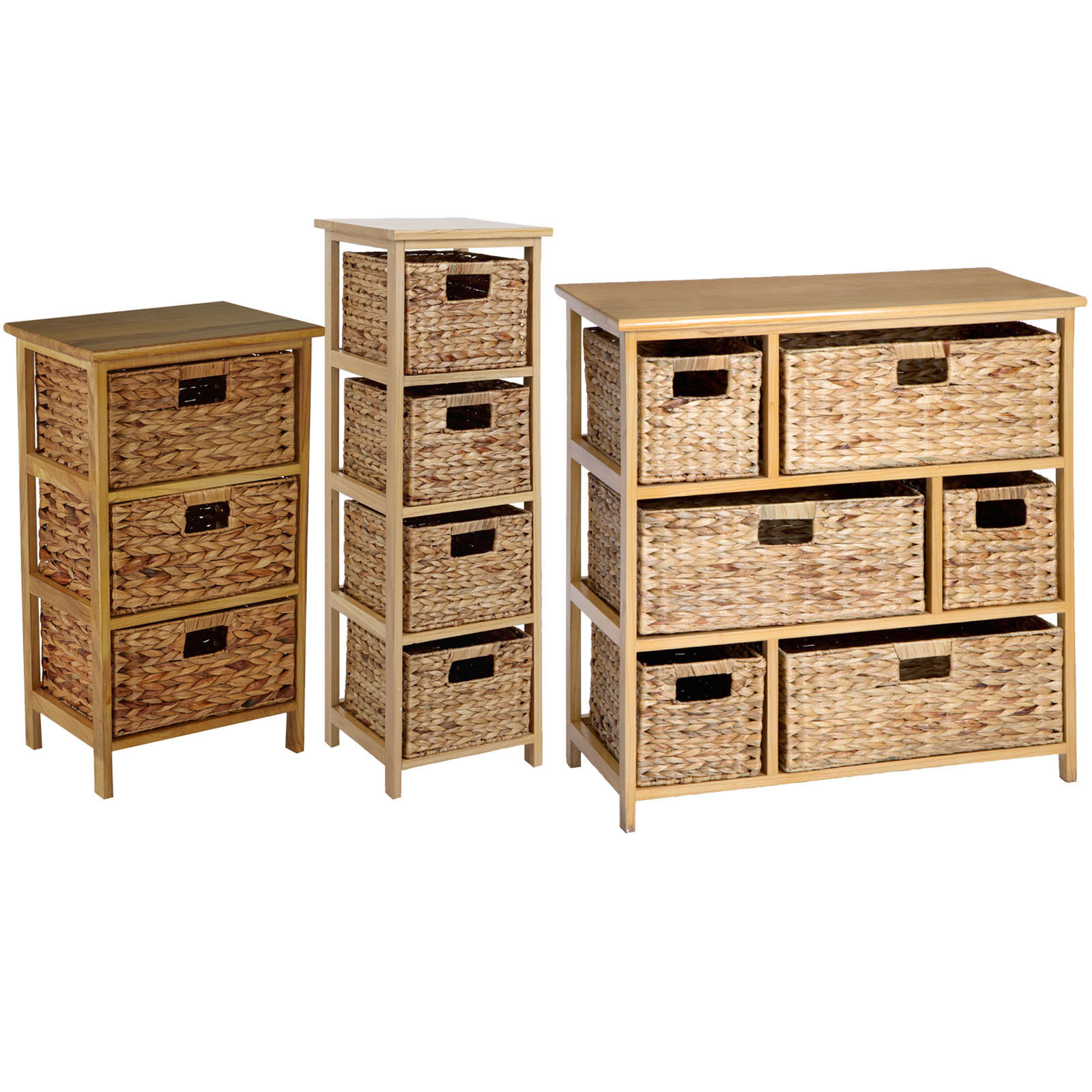 Wooden Storage Unit With Wicker Basket Drawers Large Chest Of Bathroom Shelving