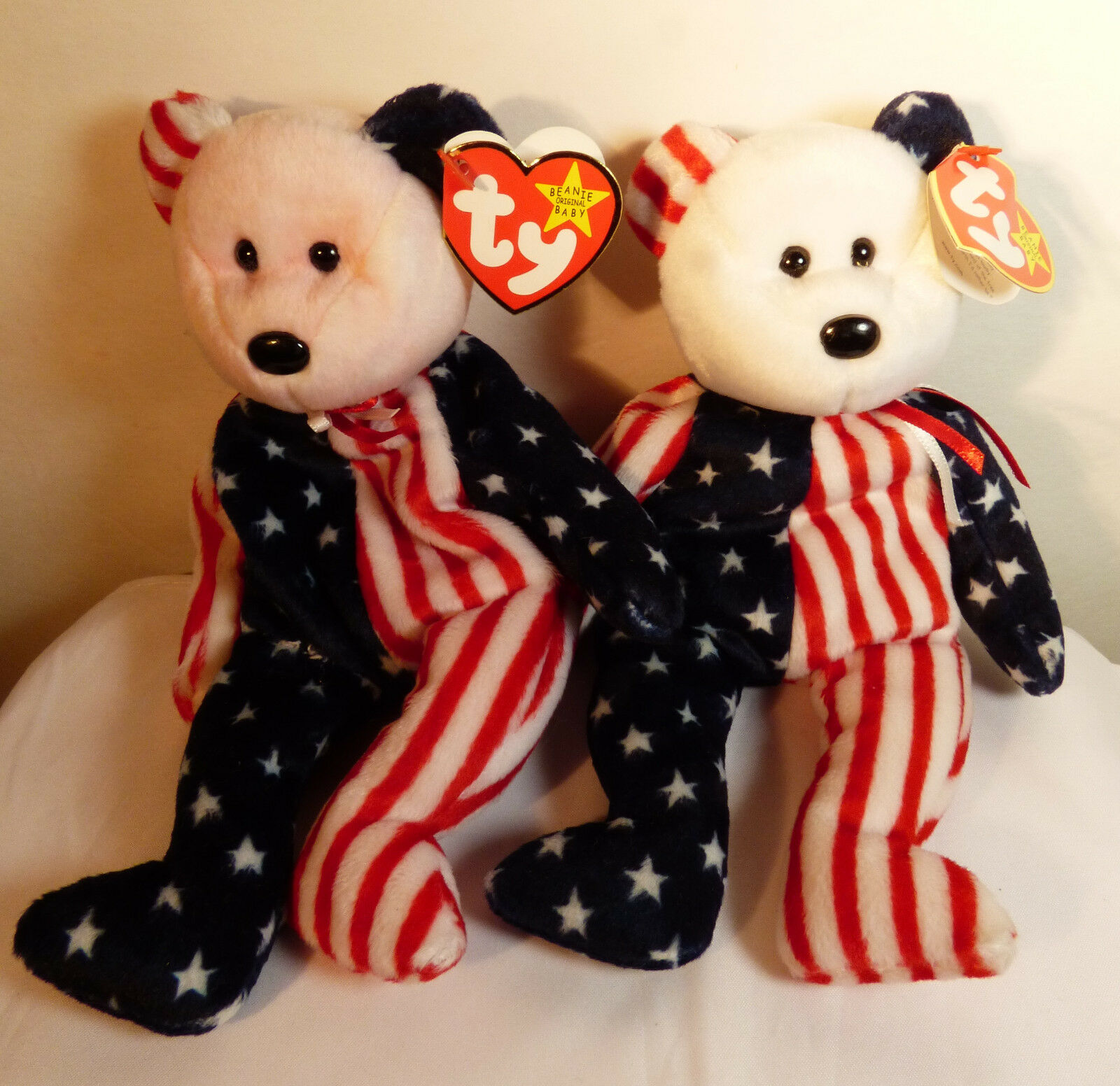 73a8e7306e3 Set of 2 Ty Beanie Baby Spangle RARE Tie Dye Pink   white Head with tags 1  of 1Only 1 available See More