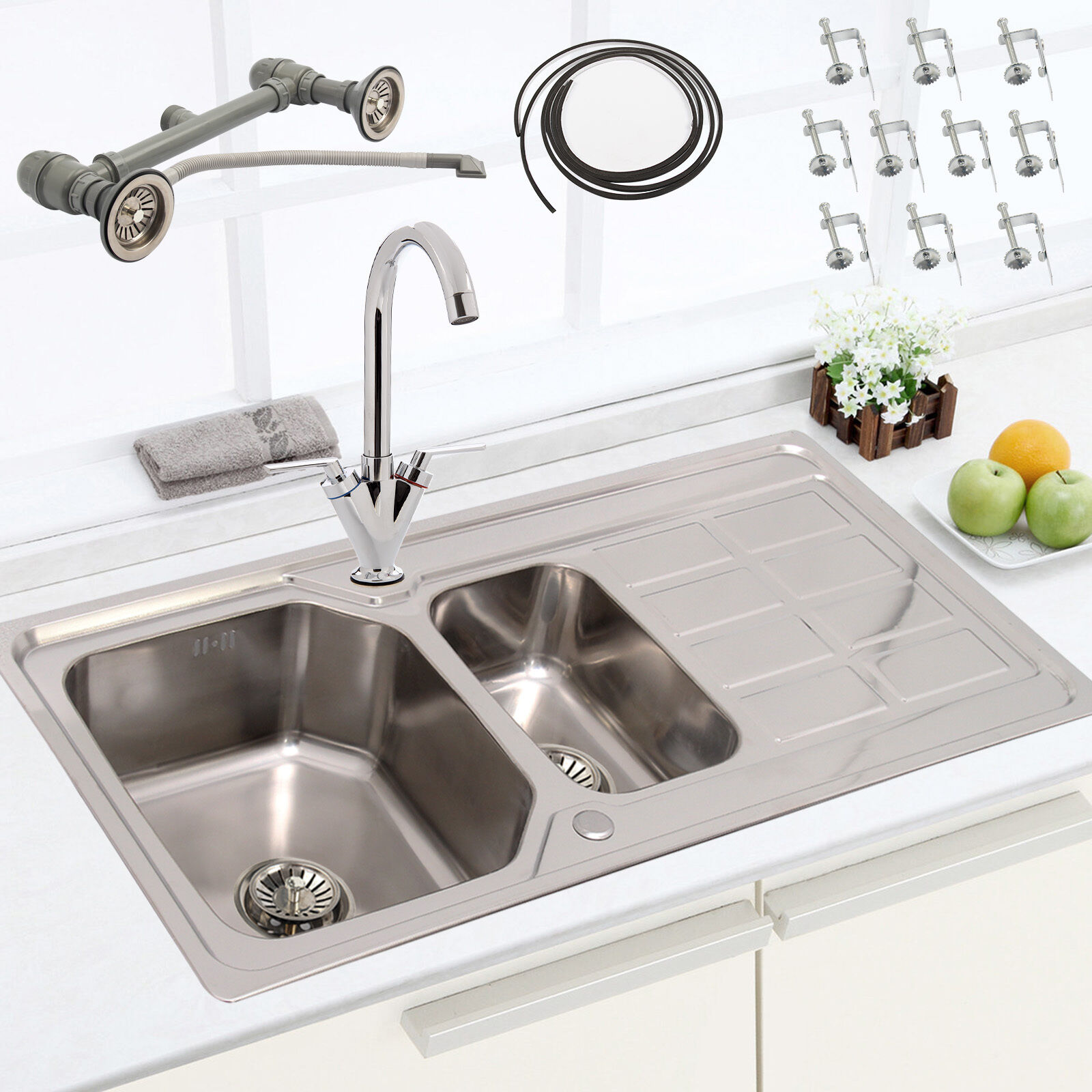 ... Bowl Stainless Steel Kitchen Sink Drainer Plumbing Kit + Taps Waste