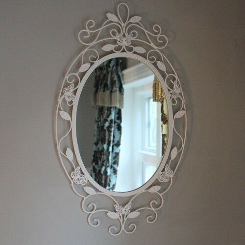 Butterfly wall mirror cream metal oval shabby chic vintage home eur 34 58 picclick it - Oval wall decor ...