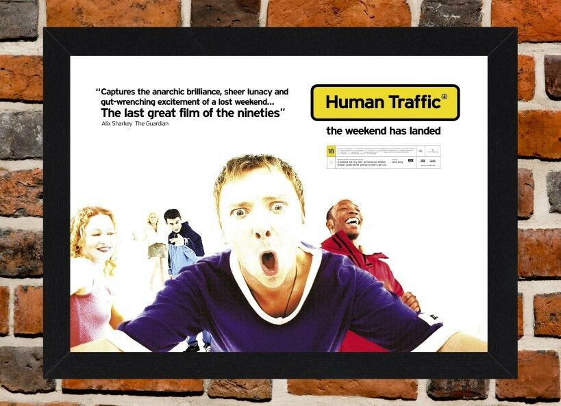 FRAMED HUMAN TRAFFIC Cult Movie Film Poster A4 / A3 Size In Black ...