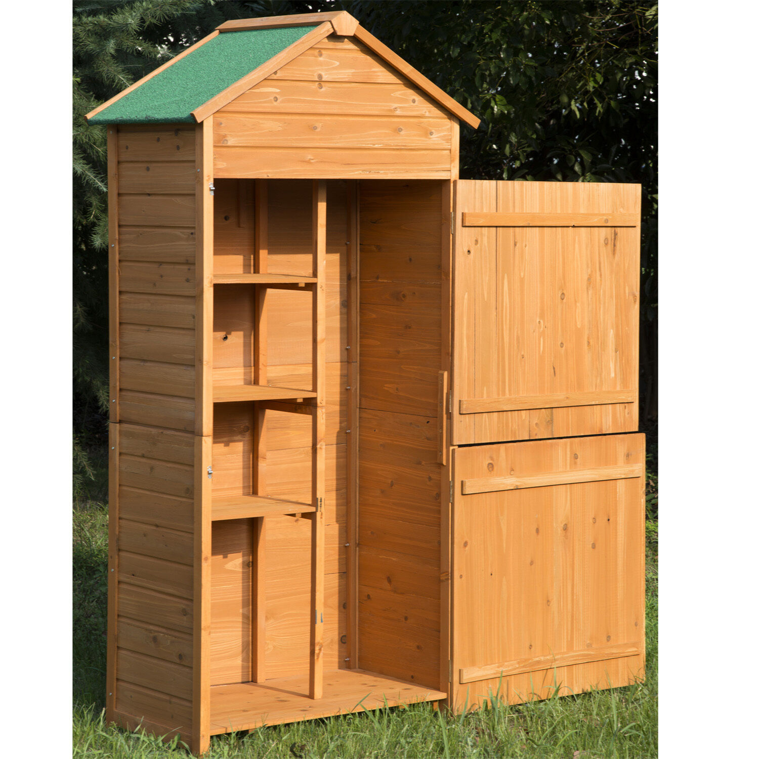 Wooden garden shed wood tool kit outdoor storage shelves for Wooden garden storage shed