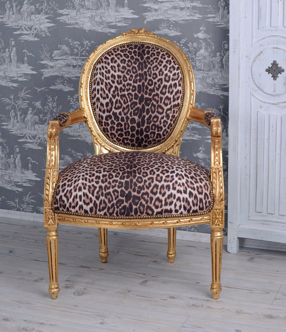 barocksessel leopard gold armlehnstuhl sessel barock leo stuhl eur 189 99 picclick de. Black Bedroom Furniture Sets. Home Design Ideas