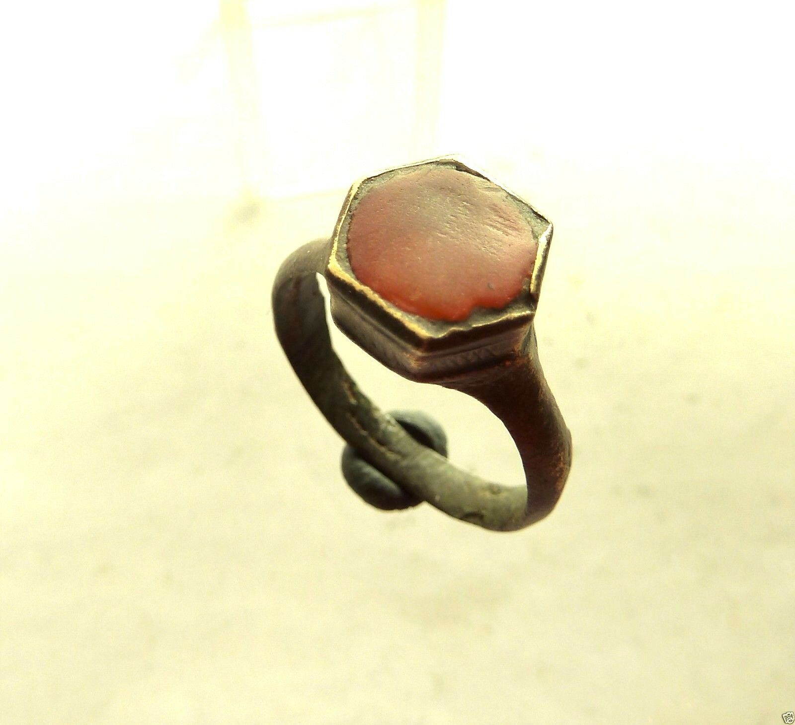 Medieval bronze ring with glass insert.  (432)