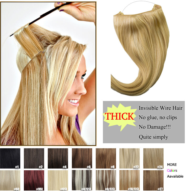Halo Style Remy Human Hair Invisible Wire Human Hair Extension On A