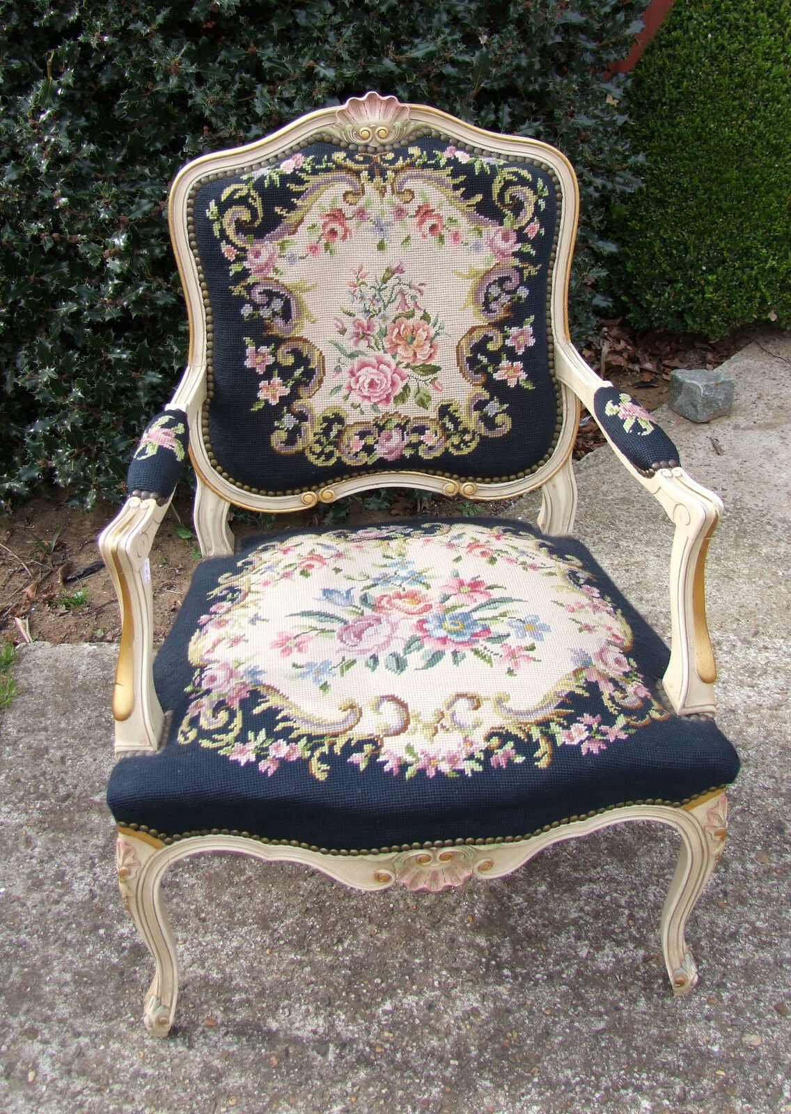 Lovely French Painted Needlepoint Armchair -  (010047)