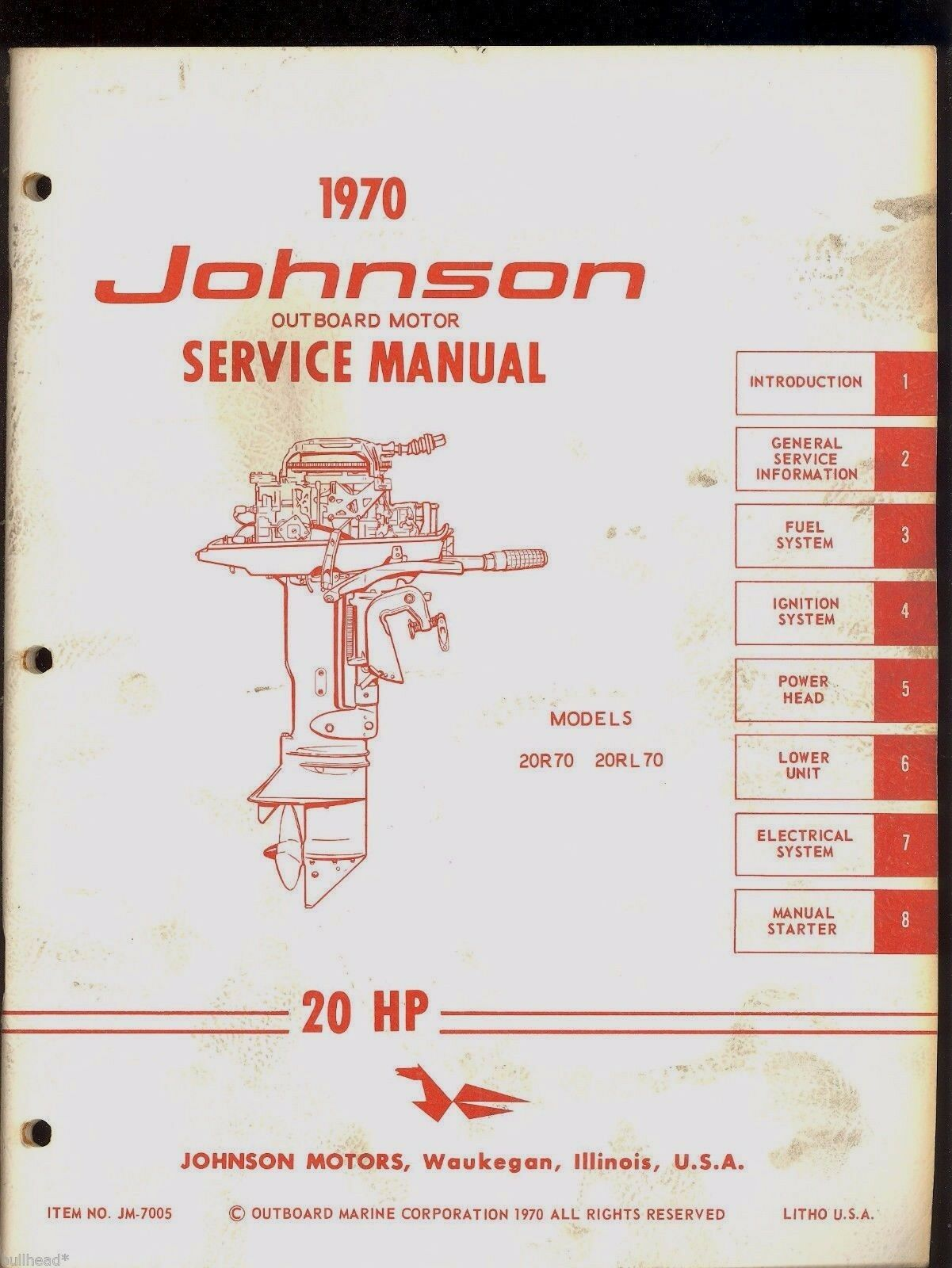 1970 Johnson 20Hp Outboard Service Manual / Models 20R70, 20Rl70 / Jm-7005  1 of 5Only 1 available ...