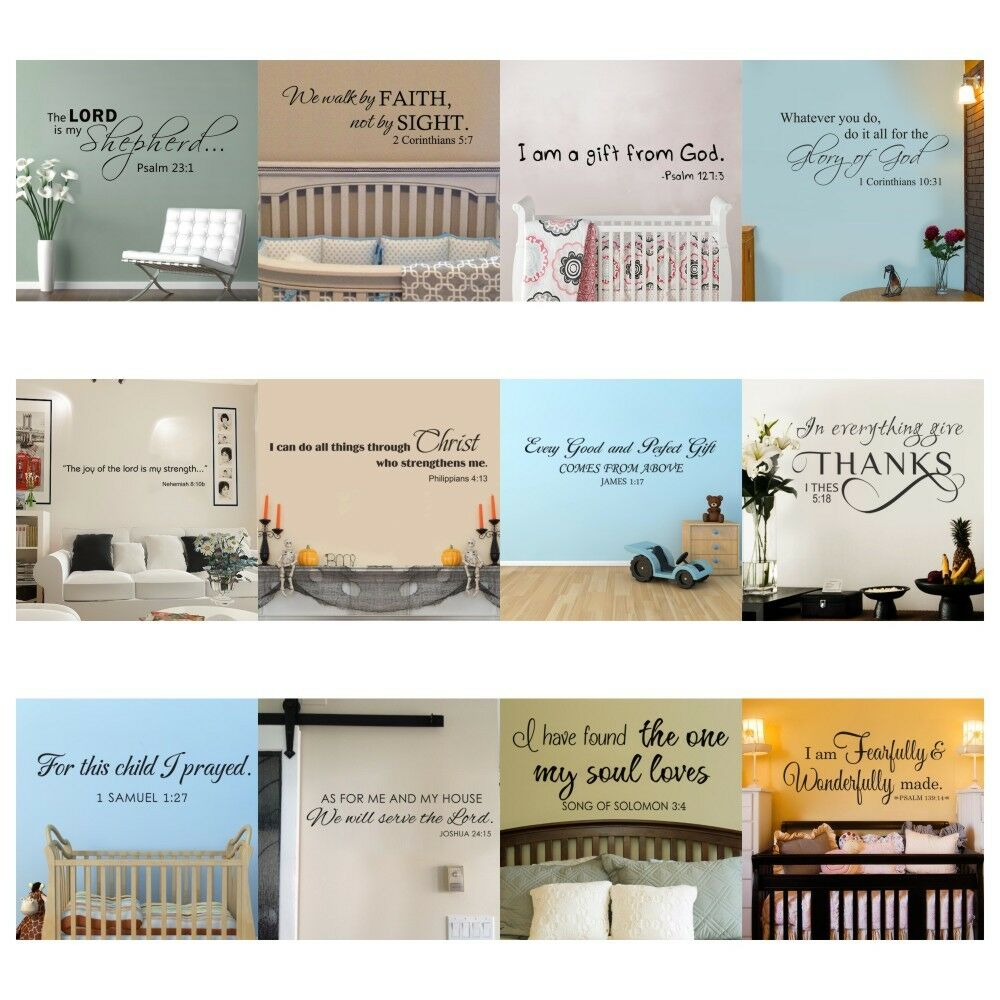 Inspirational Wall Decal Bible Verse Scripture Saying Art Vinyl Removable Decor 1 Of 5FREE Shipping