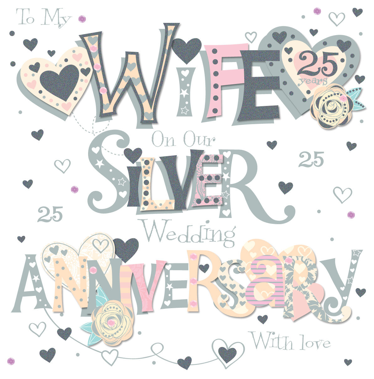 Wife Silver 25th Wedding Anniversary Greeting Card 8 Square