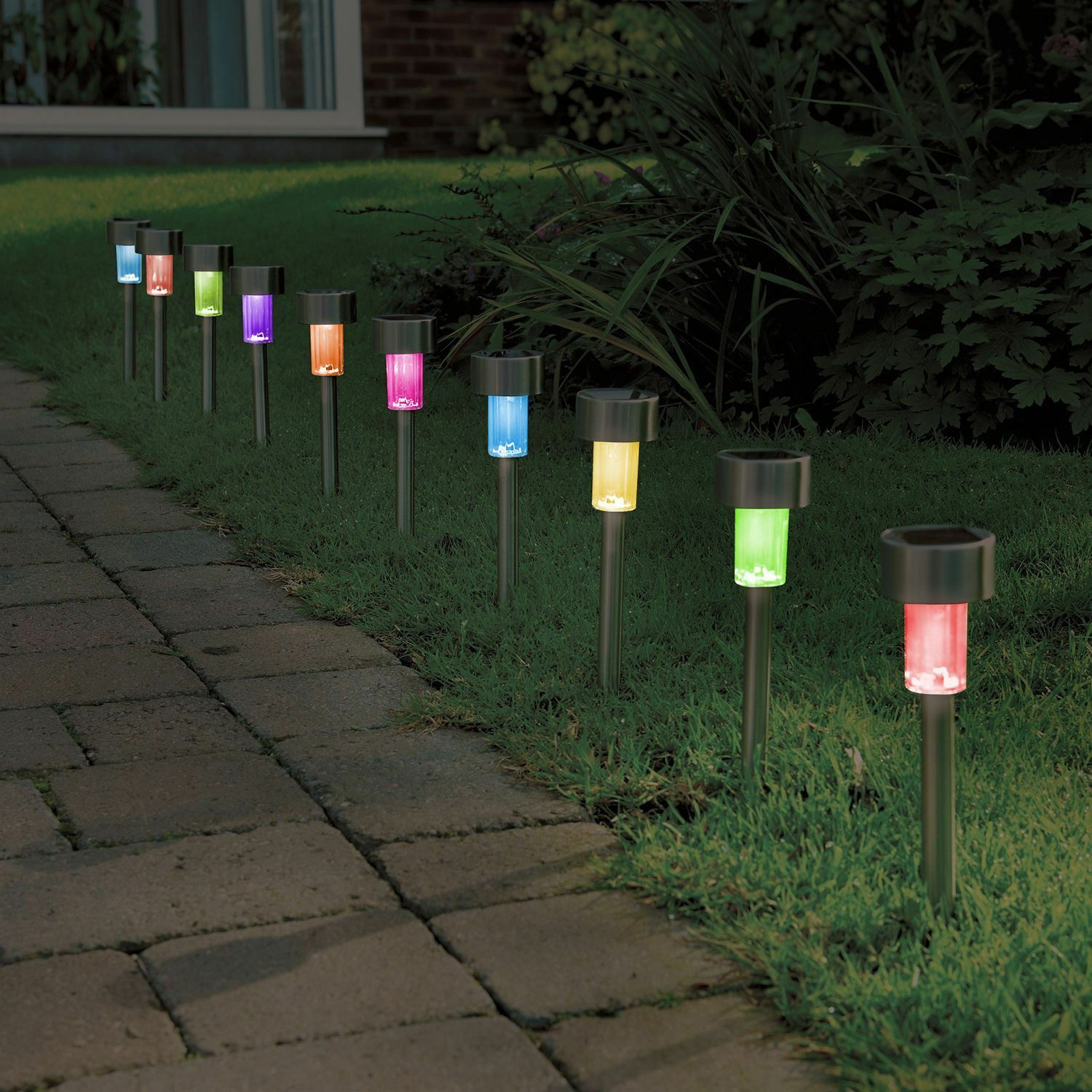 10 X Colour Changing Stainless Steel Solar Powered Garden Lights Lanterns Picclick Uk