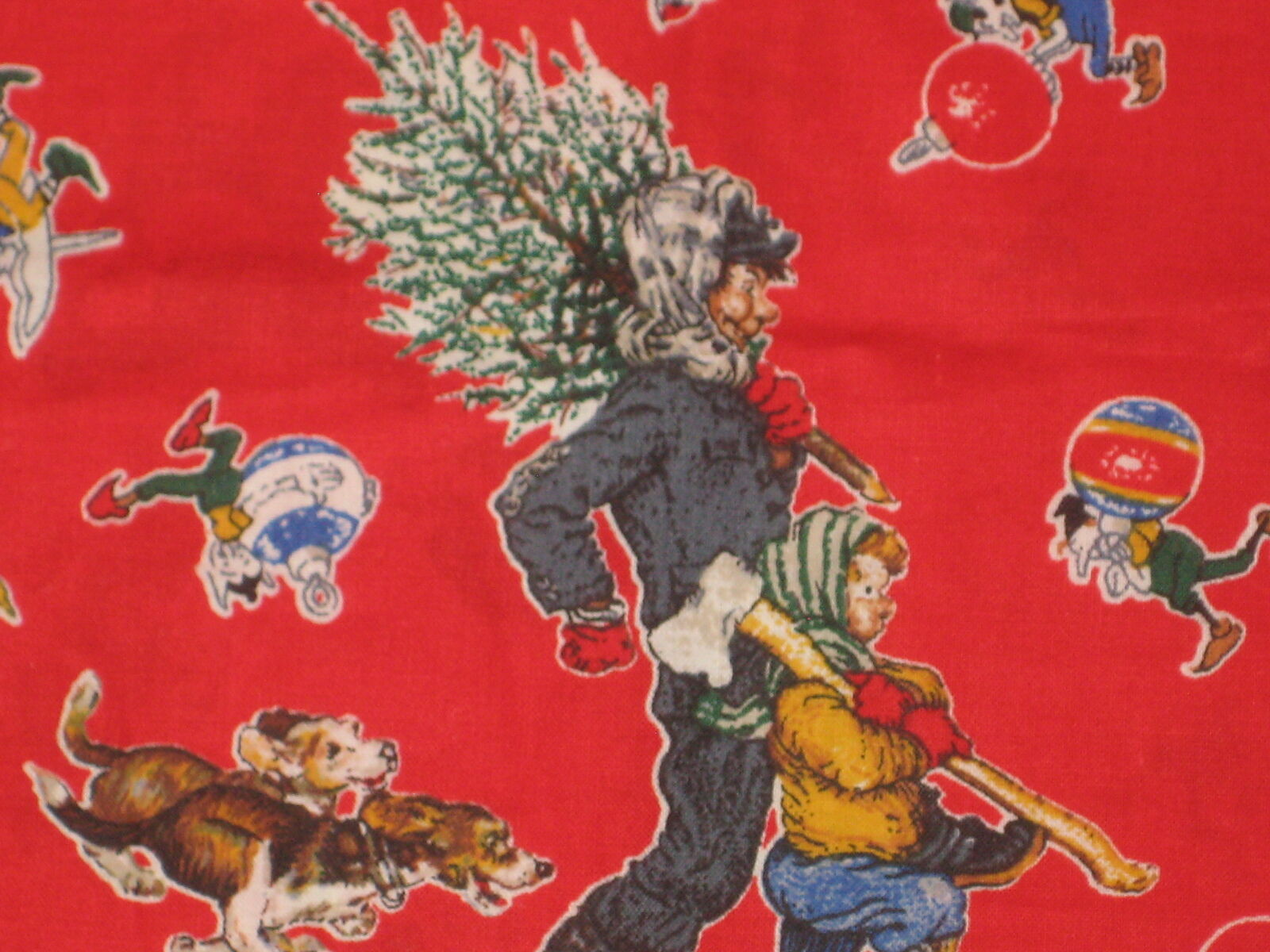 1/2 YD~ VINTAGE Red Norman Rockwell Christmas Tree shopping Cotton ...