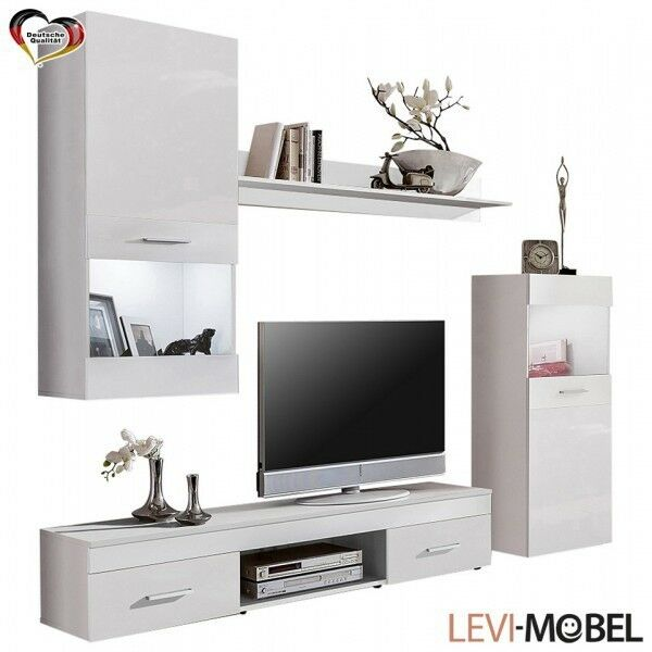 wohnwand 4 tlg wohnzimmer lowboard vitrine regal wei neu. Black Bedroom Furniture Sets. Home Design Ideas