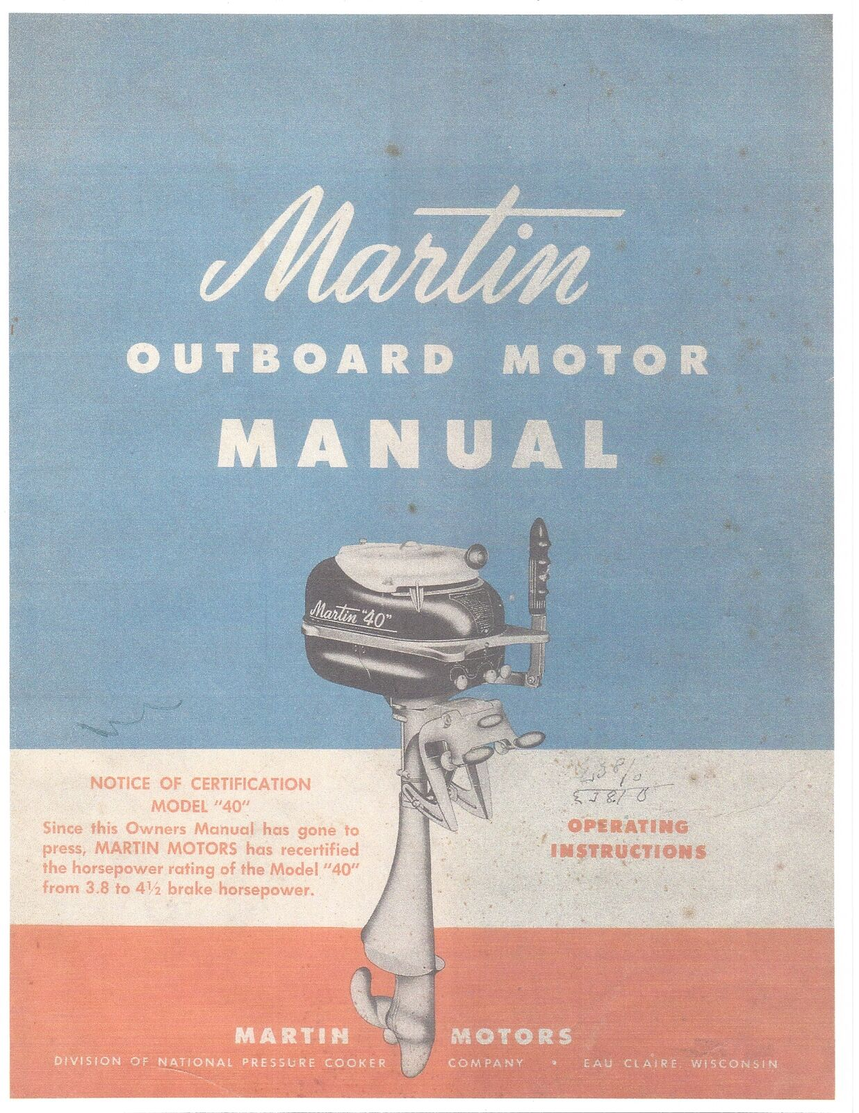 """MARTIN """"40"""", 4.5Hp Outboard Motor Service Manual 1 of 3Only 4 available  MARTIN """" ..."""