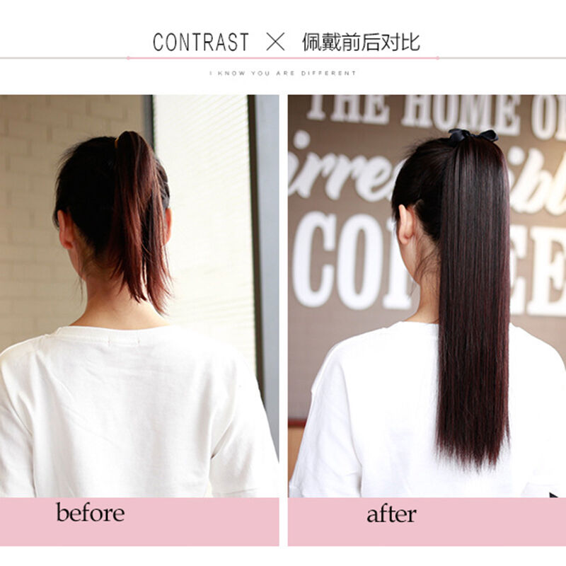 100g Ponytail Human Hair Extensions Wrap On Strap Straight 16 Inch