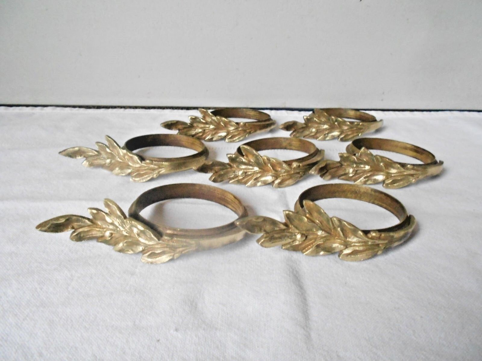 7 Antique French BRONZE Curtain Hanging Rings LEAVES