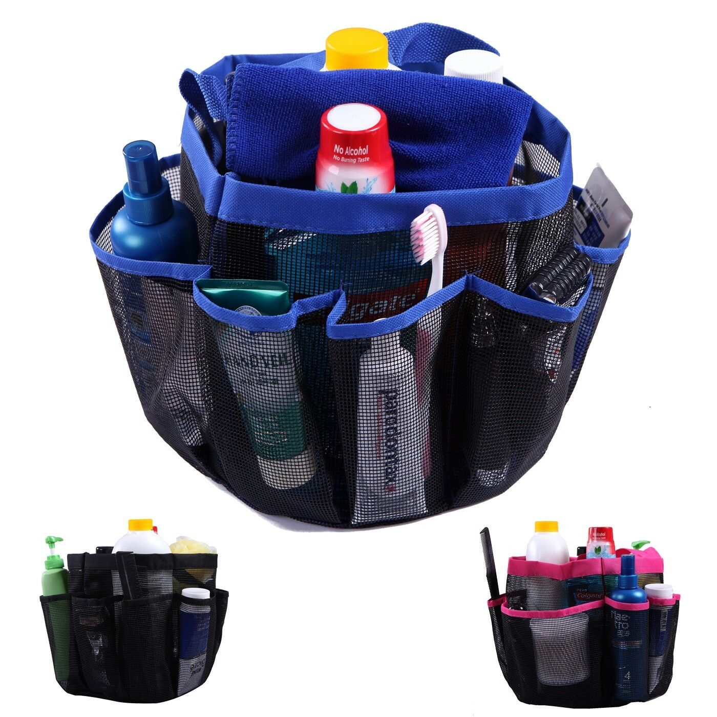 PACKABLE MESH SHOWER Bag Caddy Bathroom Carry Tote Toiletry Bath ...