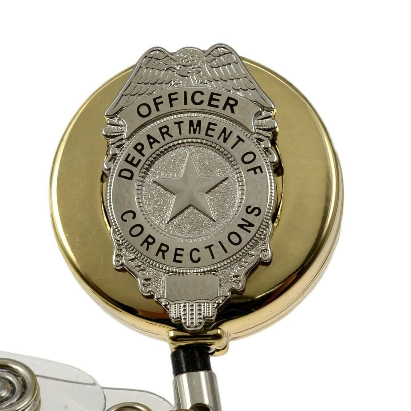 Department Of Corrections Officer Badge Reel ID Security Pass Holder Gold 1  Of 4 See More