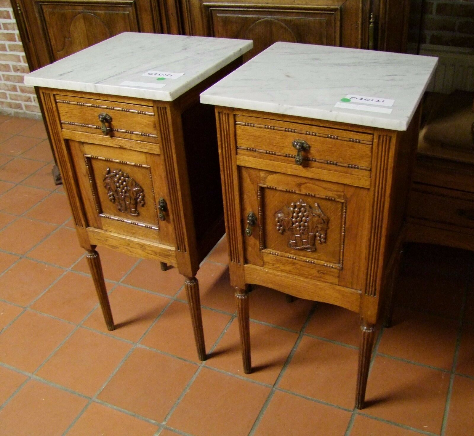 French Oak Pair Of Marble Topped Bedside Cabinets - (030121)