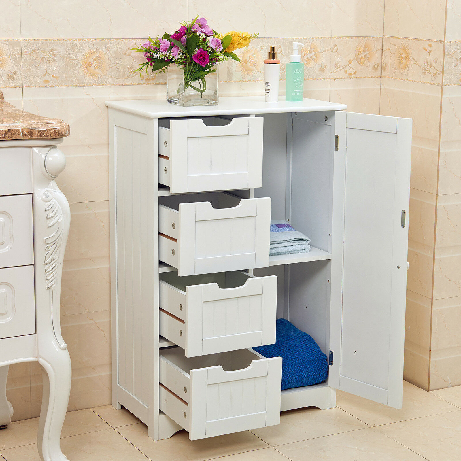 White wooden 4 drawer bathroom storage cupboard cabinet for Bathroom cabinets ebay australia