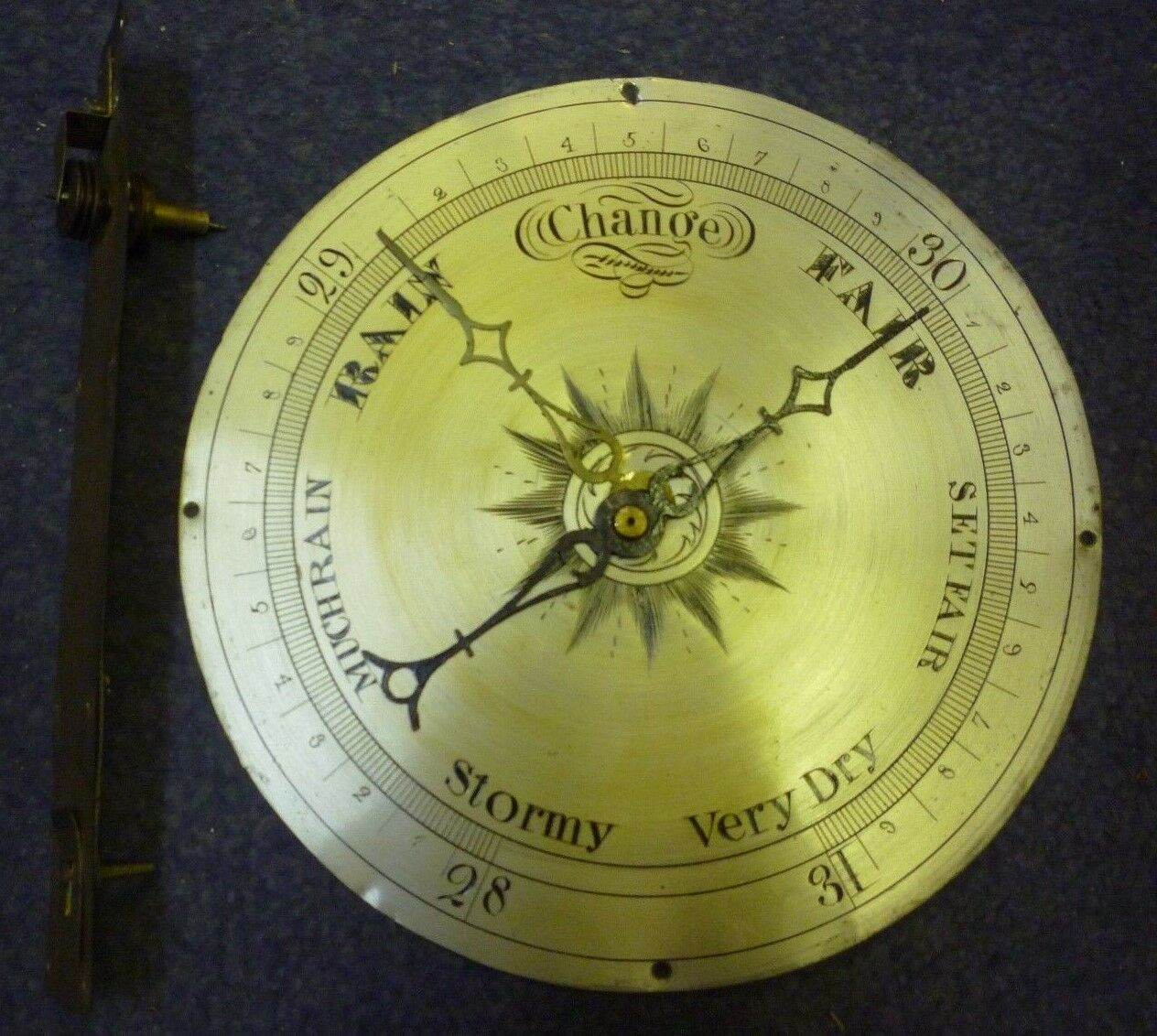 Original Antique Banjo Barometer 8ins Silvered Dial Hands And Interior Pully(1)