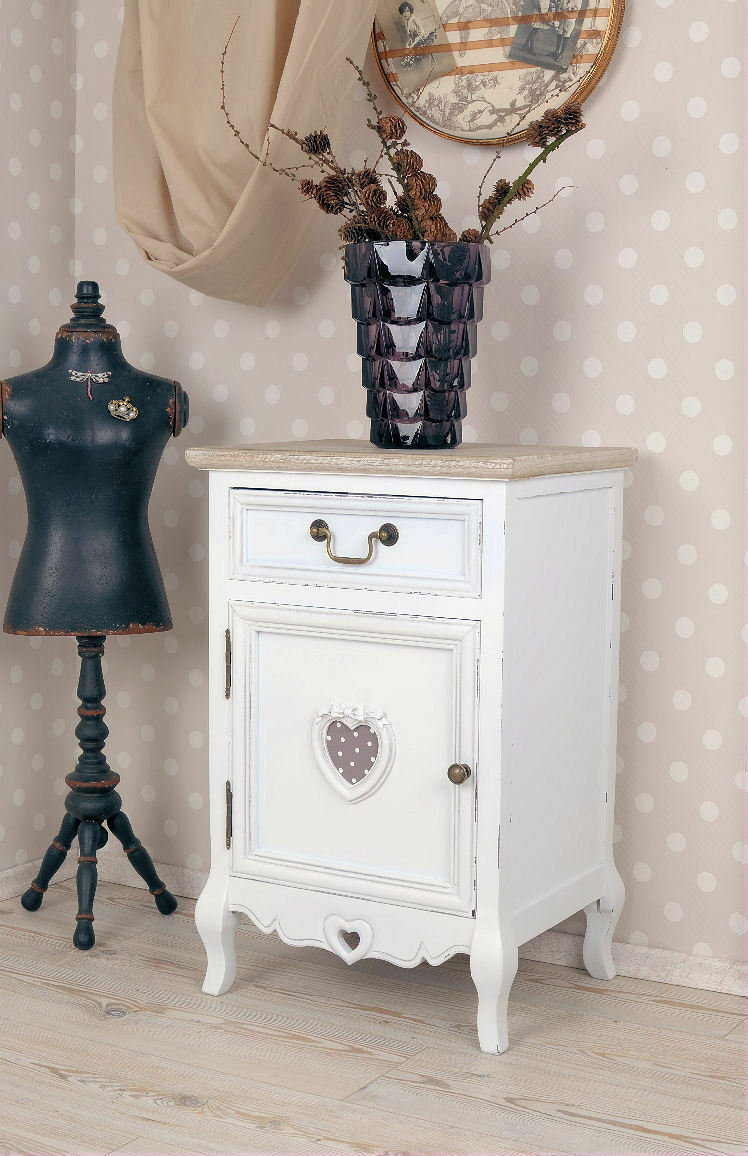 vintage nachtschrank weiss nachttisch nachtkommode shabby chic eur 129 99 picclick de. Black Bedroom Furniture Sets. Home Design Ideas
