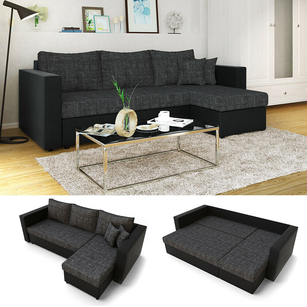 ecksofa mit schlaffunktion sofa schlafsofa polsterecke bettfunktion schwarz grau eur 369 90. Black Bedroom Furniture Sets. Home Design Ideas