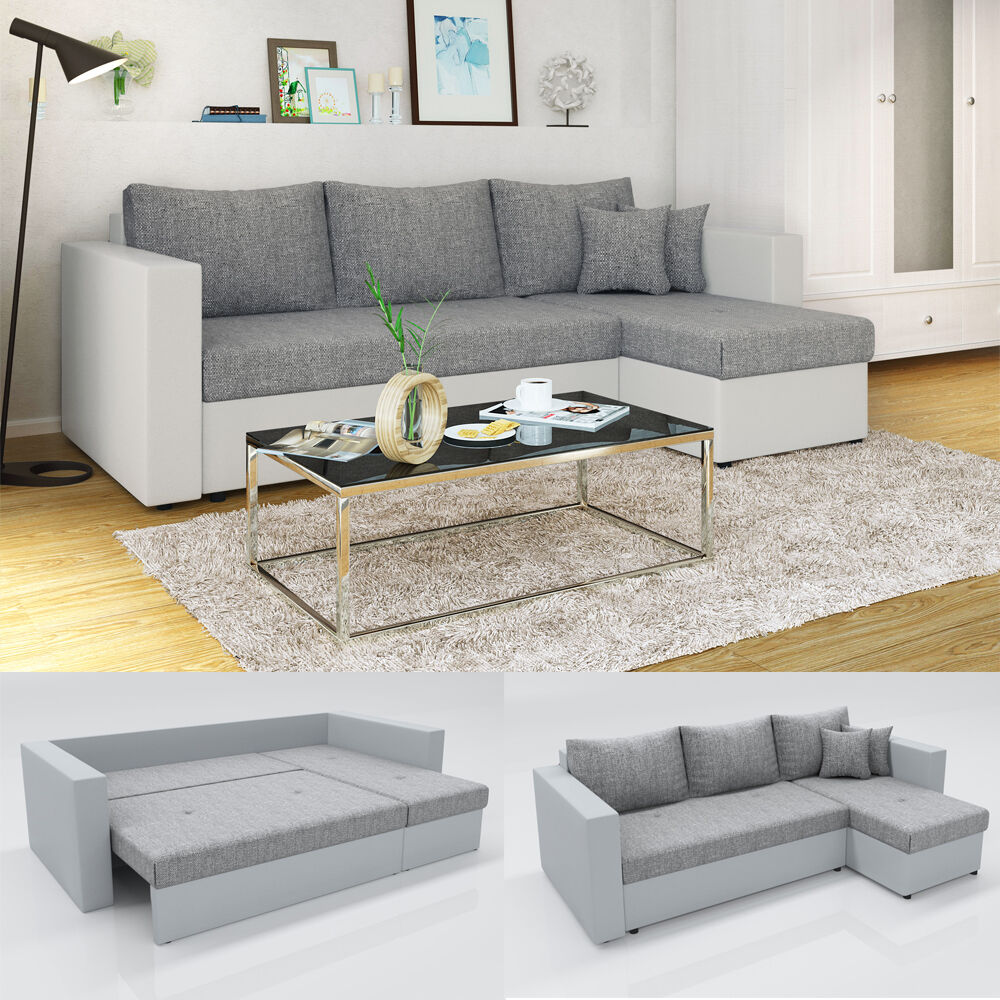 vicco ecksofa mit schlaffunktion wei grau couch schlafsofa bett eckcouch sofa eur 429 90. Black Bedroom Furniture Sets. Home Design Ideas