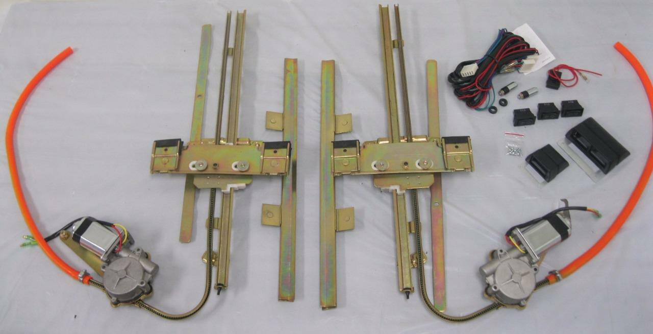 Two 2 Door Street Hot Rat Rod Flat Glass Power Window Kit W Switches Wiring 1 Of 1free Shipping