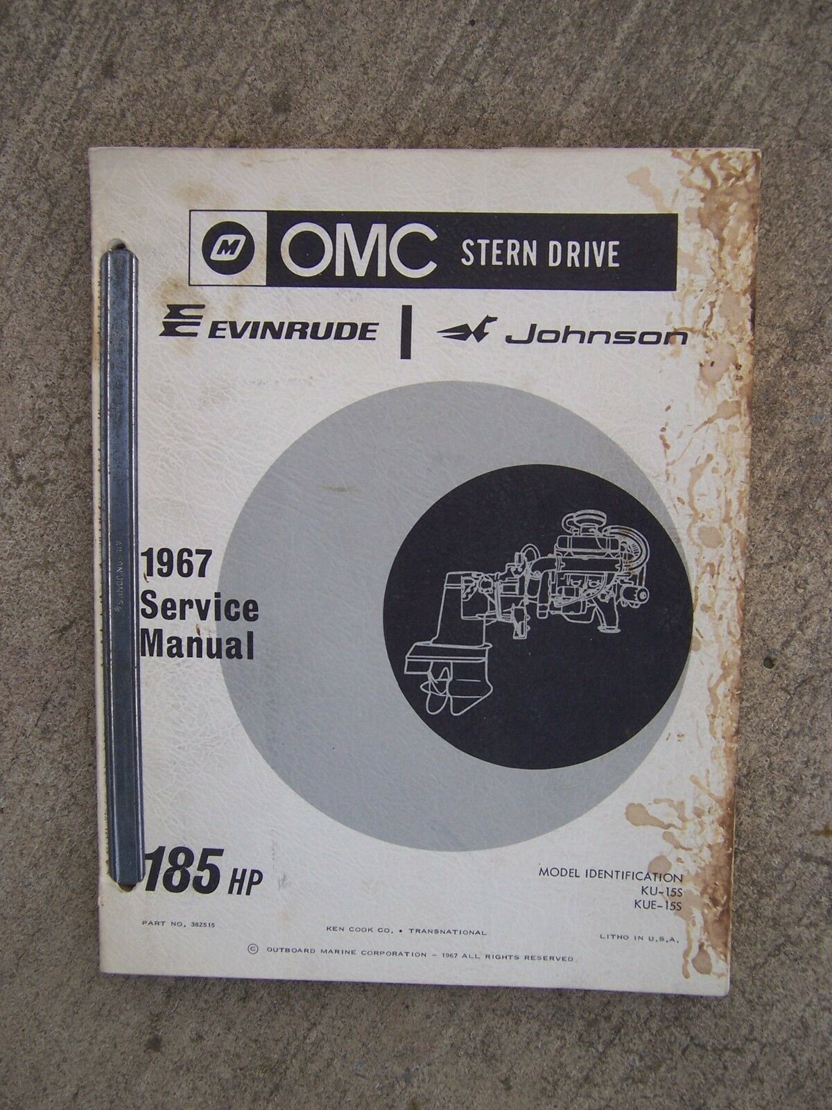 1967 OMC Evinrude Johnson Stern Drive 185 HP KU-15S KUE-15S Service Manual  1 of 1Only 1 available ...
