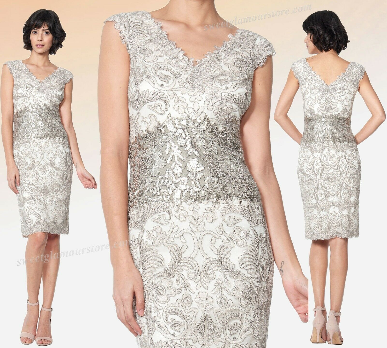 $398 TADASHI SHOJI Corded Embroidered Tulle Contrast Sequined Lace ...
