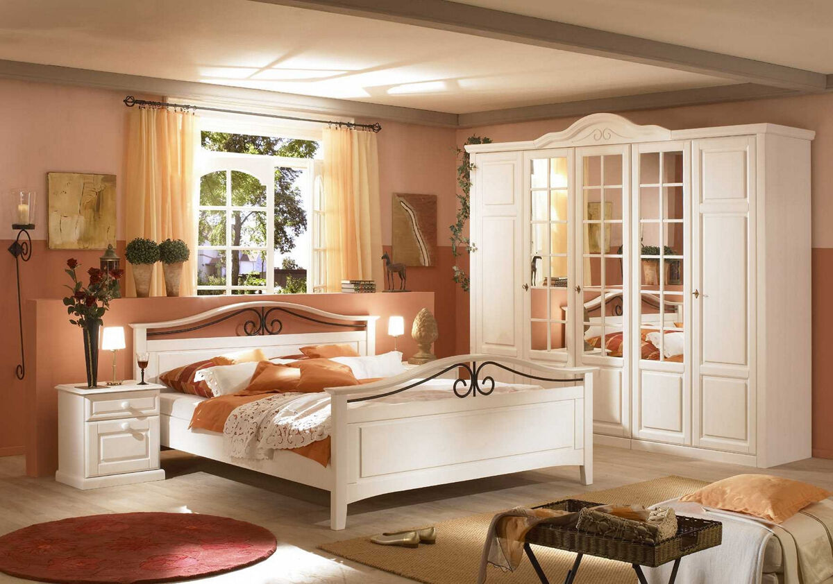 schlafzimmer 4 teilig kiefer landhaus weiss modell reno eur picclick de. Black Bedroom Furniture Sets. Home Design Ideas