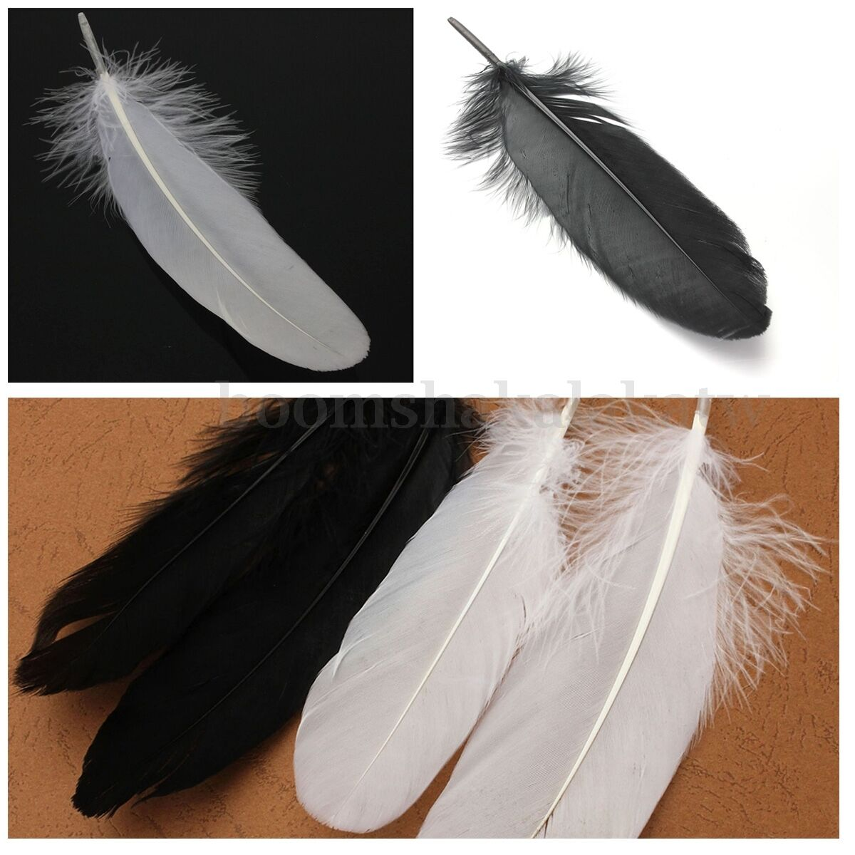 15 20cm white black goose feathers feather diy crafts for Where can i buy feathers for crafts