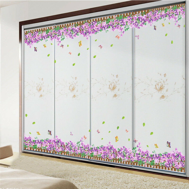 Flower removable art vinyl butterfly wall sticker decal for Butterfly wall mural stickers