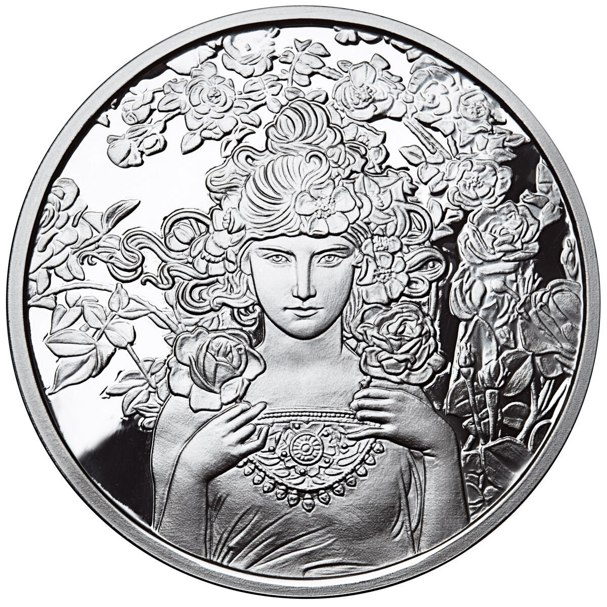 Alphonse Mucha Rose 1 Oz Silver Coin 3 In Series