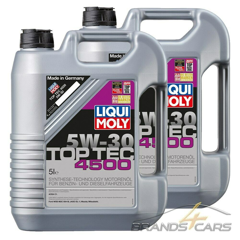 2x 5 l 10 liter liqui moly top tec 4500 5w 30 motor l motoren l 32108520 eur 68 09. Black Bedroom Furniture Sets. Home Design Ideas