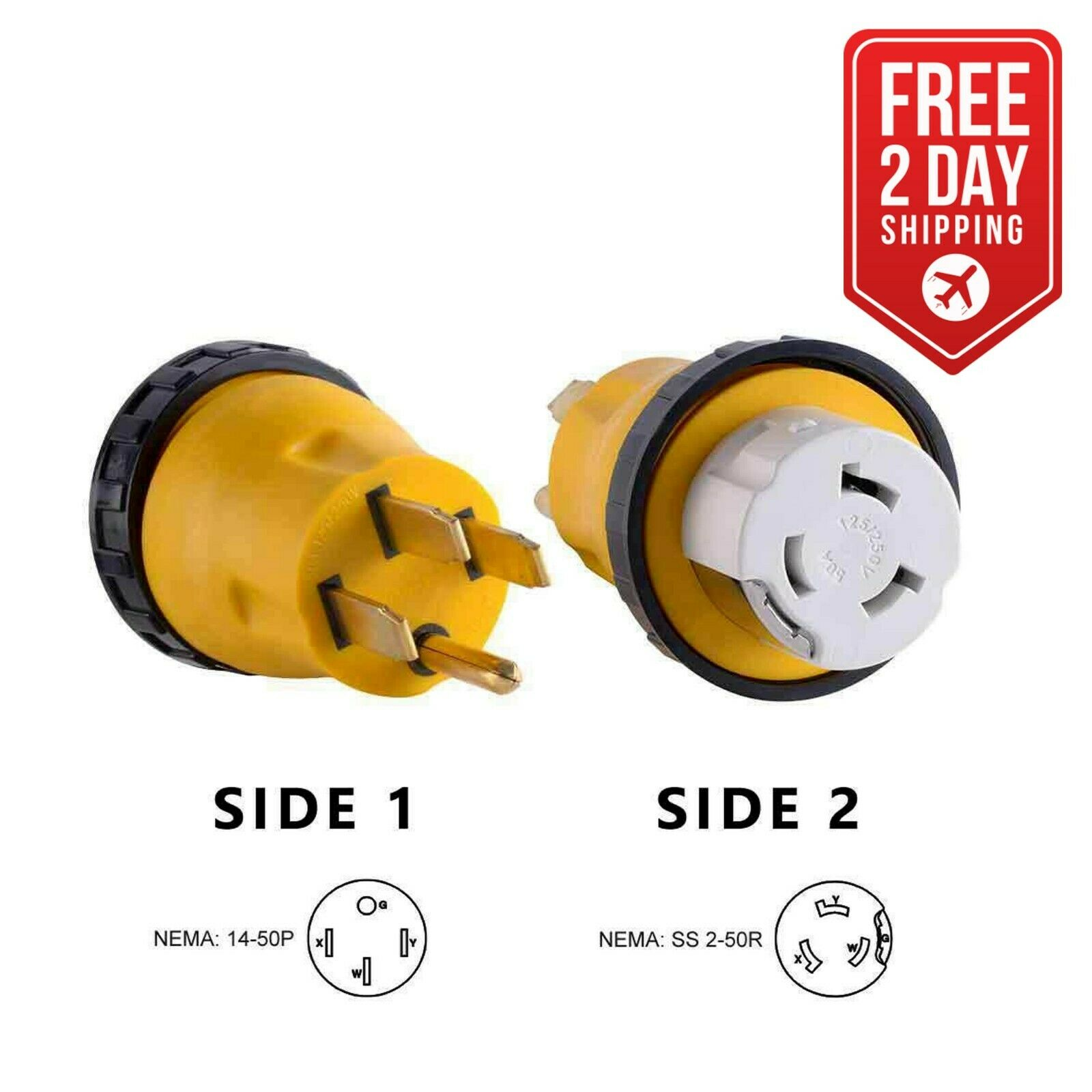 Rv Power Cord Adapter 50 Amp Male To Twist Lock Female Camper Grip Plug 125v 30 15 Detachable 1 Of 3 See More
