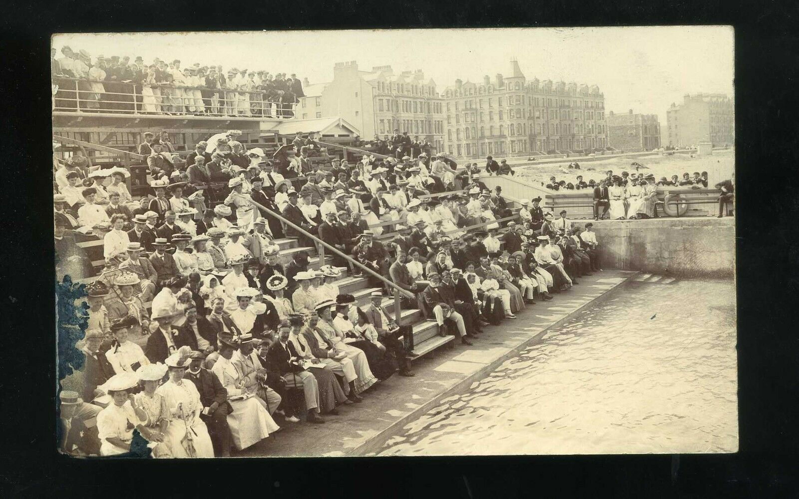 Isle Of Man Ramsey Open Air Swimming Pool With Crowds Of People Rp Picclick Uk
