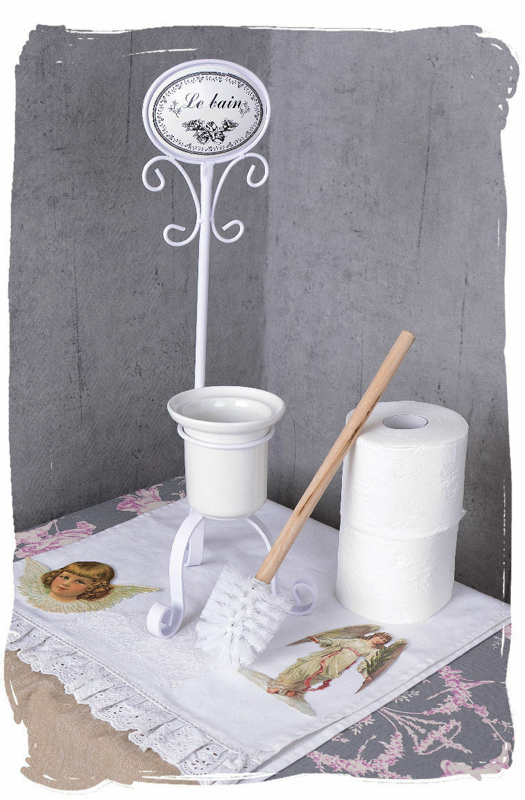Wc b rstengarnitur weiss toilettenb rste klob rste vintage bad einzelst ck eur 29 99 picclick de for Spiegel wc deco