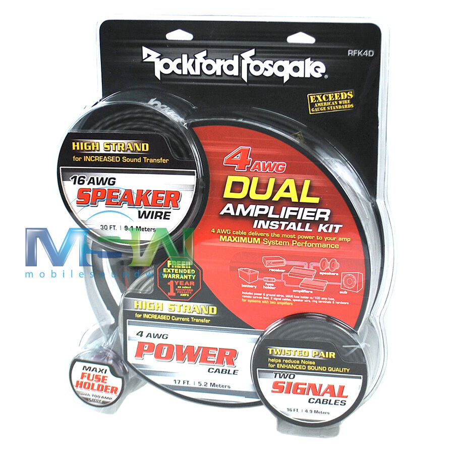 Rockford Fosgate Rfk4d 4 Awg Gauge Dual Amplifier Amp Installation Complete Wire Install Kit 4g Wiring Ebay Rfk 4d 1 Of 2only 0 Available See More