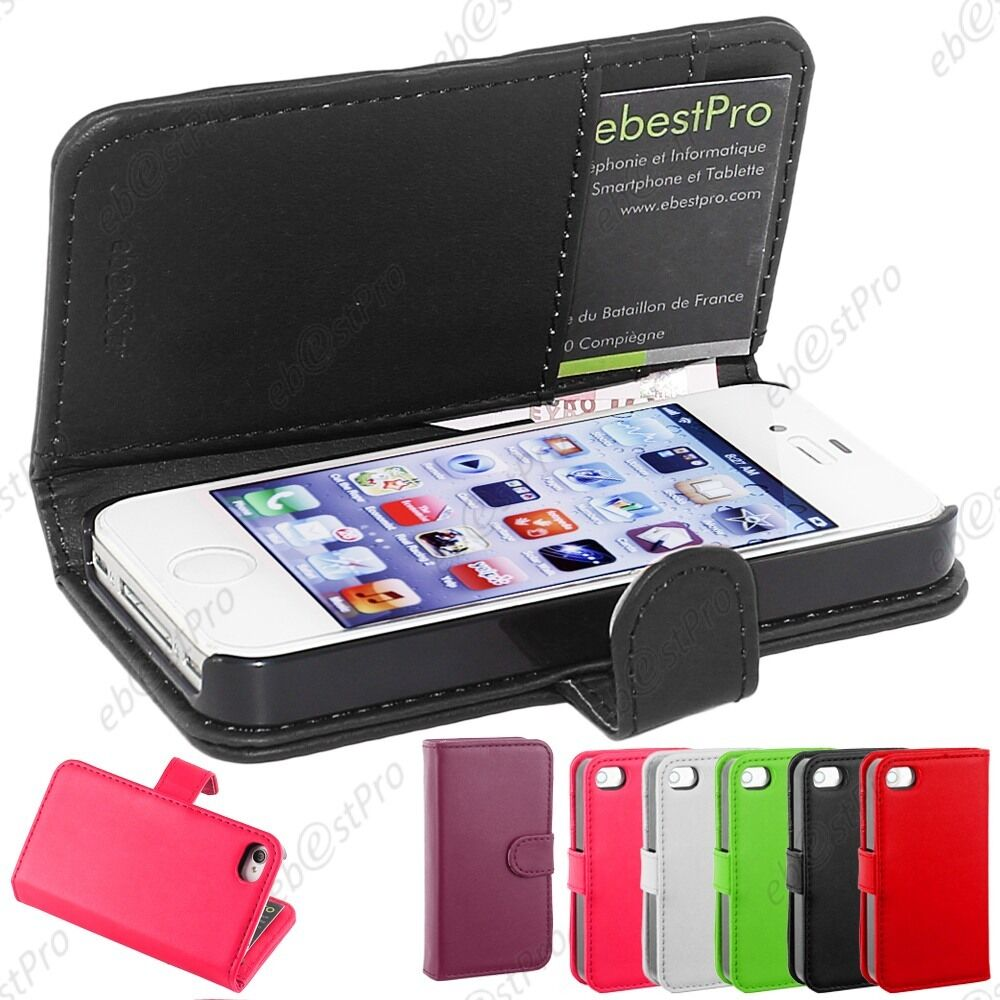 Housse etui coque portefeuille simili cuir apple iphone 4s for Housse iphone 4 cuir